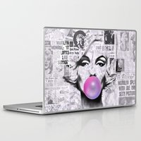 popart Laptop & iPad Skins featuring Marilyn Newspaper Headlines PopArt by cvrcak