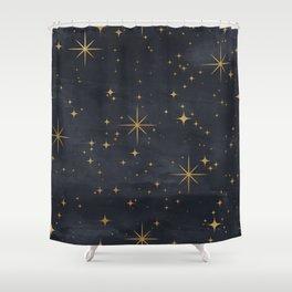 Gold Stars Black Ink Night Sky Magical Mid Century Pattern Shower Curtain