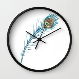 Watercolor Peacock Feather Wall Clock