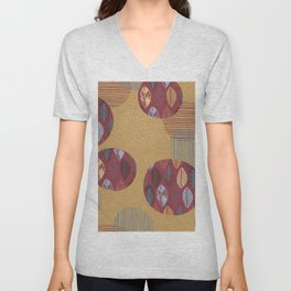 Geometrical brown blue burgundy hand painted autumn leaves Unisex V-Neck