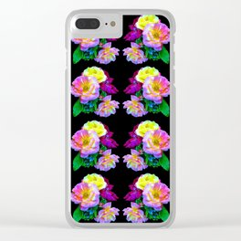 Rosa Yellow Roses on Black Pattern Clear iPhone Case