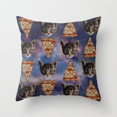Kitten Pizza Galaxy  Throw Pillow