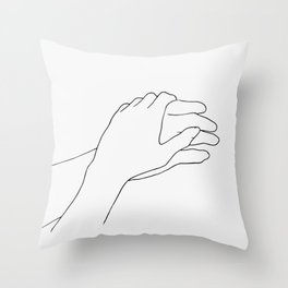 Holding hands line drawing Throw Pillow
