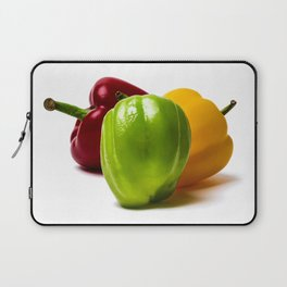 Three Bell Peppers Against The White Background. Green Pepper To The Front Laptop Sleeve