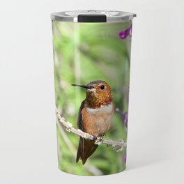 Allen's Hummingbird Perched on Mexican Sage Flowers Travel Mug