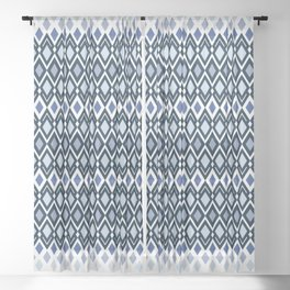 Diamonds in colors of sea and sky Sheer Curtain