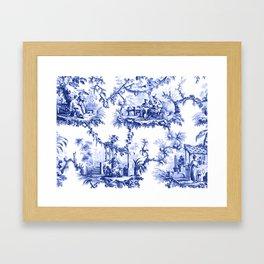 Blue Chinoiserie Toile Framed Art Print