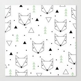 Scandinavian woodland fox forest mint black and Canvas Print