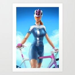 Cyclist girl Art Print