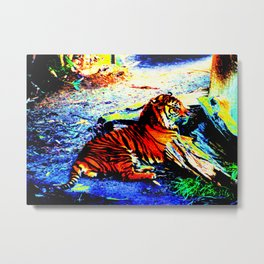 Relaxing Tiger Bright Metal Print