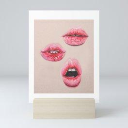 pink glossy lip trio #1 Mini Art Print