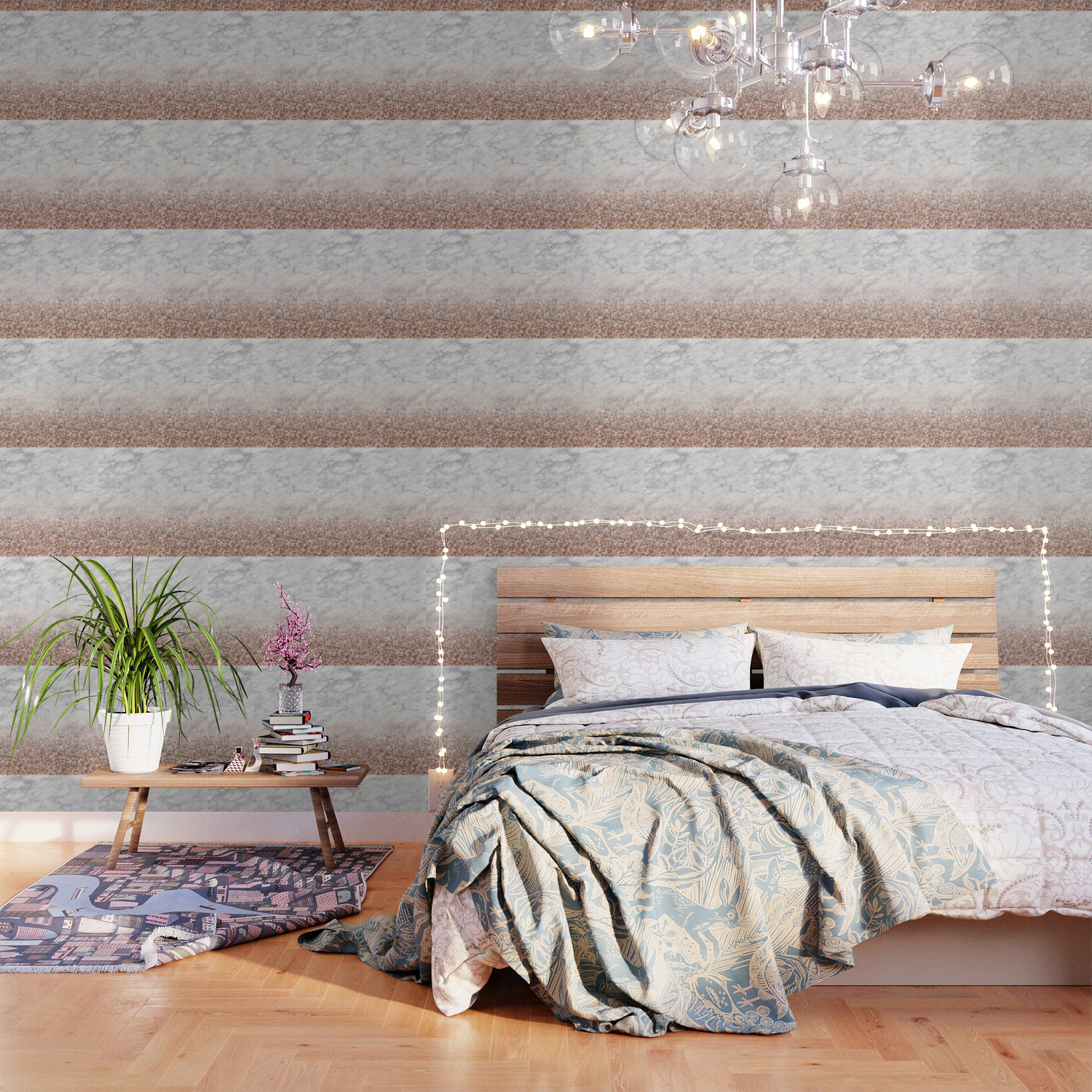 Bold Ombre Rose Gold Glitter White Marble Wallpaper By Marbleco Society6