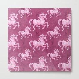 Pink Horse Pattern II Metal Print