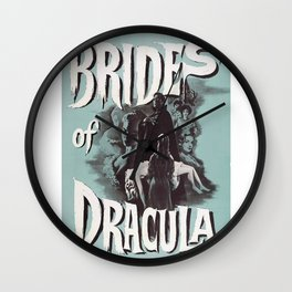 Brides of Dracula, vintage horror movie poster Wall Clock