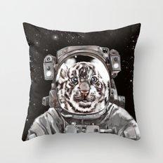 Astronaut White Tiger Selfie Throw Pillow