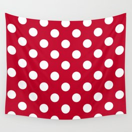 Red and Polka White Dots Wall Tapestry