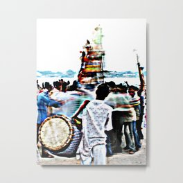 Drummer at Durga Puja Immersion Metal Print