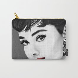 Audrey Hepburn gray-scale with red lips Carry-All Pouch