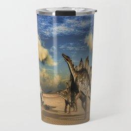 Stegosaurus dinosaur in the desert Travel Mug