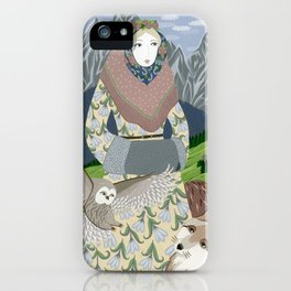 Lady with an owl and a dog iPhone Case
