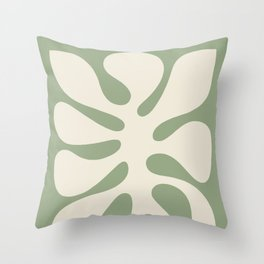 Abstract Monstera Leaf 6. Sage Throw Pillow