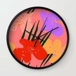 water lily pads and plant Wall Clock