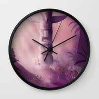totem Wall Clocks featuring Totem by Ramona Treffers