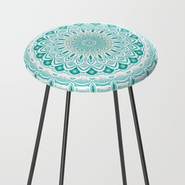 White Mandala on Blue Green Distressed Background with Detail and Textured Counter Stool