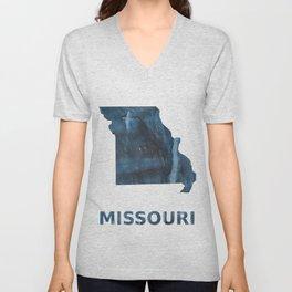 Missouri map outline Dark Gray Blue clouded watercolor pattern Unisex V-Neck