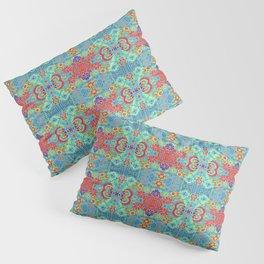 Boho Hippie Garden Floral Pattern - Turquoise Summer Pillow Sham