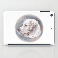 golden retriever iPad Cases featuring Golden Retriever Dog Drawing by Lena Svalfors Hedin