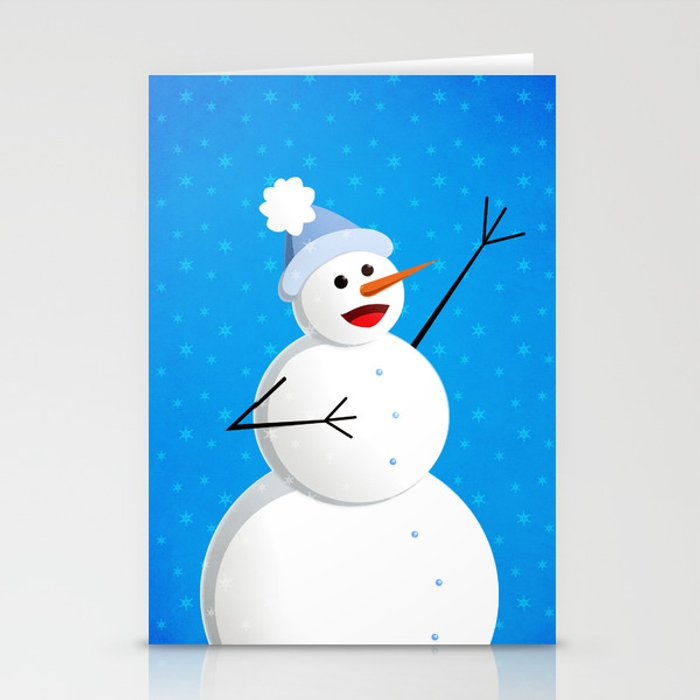 Blue Happy Singing Snowman Stationery Cards