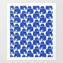 Chinese Guardian Lion Statues in Pottery Blue + White Art Print