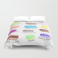 macaron Duvet Covers featuring Macaron Watercolor Diagram by Georgie Pearl Designs