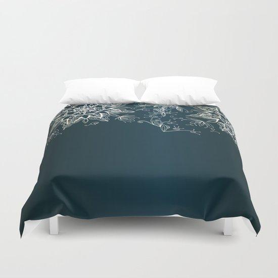 Zendala snowflake denim Duvet Cover