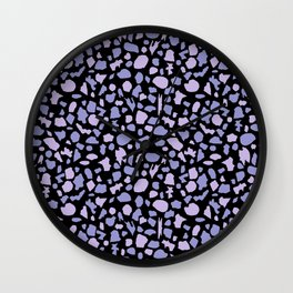Terrazzo in Lilacs and Black Wall Clock