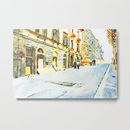 L'Aquila: street with shop and wayfarers in the historic center Metal Print
