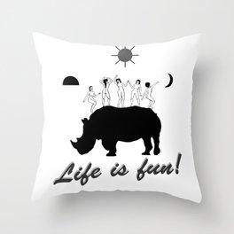 Dances on Rhino Throw Pillow