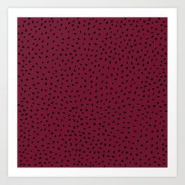 Doodle Dot Pattern Wine & Black Art Print