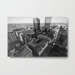 Fort Worth in Black and White Metal Print