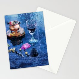 evening wine on the veranda of the summer cafe on a hot day in the rain Stationery Cards