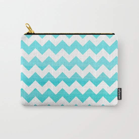 Aqua Blue chevron ZigZag Herringbone - watercolor on white pattern #Society6 Carry-All Pouch