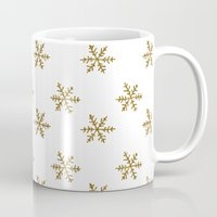 golden girls Mugs featuring Golden snowflakes by Better HOME