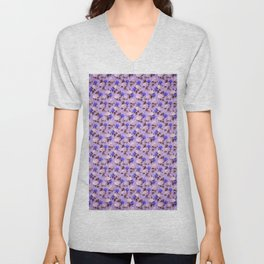 Lilac pink navy blue watercolor hydrangea floral Unisex V-Neck