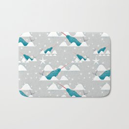 Sea unicorn - Narwhal grey Bath Mat