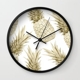 Gold Pineapple Bling Wall Clock