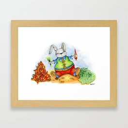 Funny rabbit with a carrot. Watercolor illustration Framed Art Print
