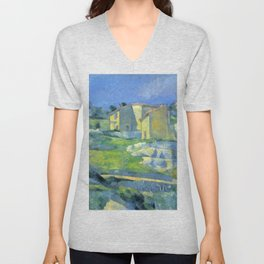 """Paul Cezanne """"Houses in Provence - The Riaux Valley near L'Estaque"""" Unisex V-Neck"""