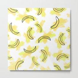 Modern Abstract Yellow Orange Watercolor Bananas Metal Print