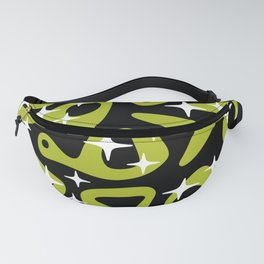 Retro Mid Century Modern Abstract Composition 823 Green and Black Fanny Pack